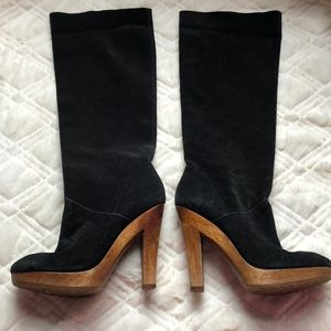 Michael kors black suede leather heeled boots 8